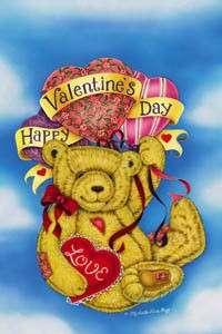 9558FM Mini Flag Valentines Day Bear Heart Balloons Holiday