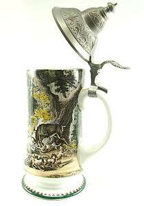 German Lidded Beer Stein Colorful Stag and Hounds Horses Hunting Scene