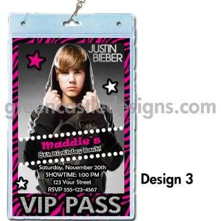Justin Beiber birthday party invitation VIP pass lanyard 3