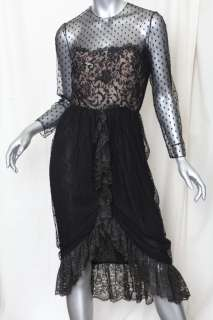 BILL BLASS *VINTAGE* Black SILK+Floral & Dotted LACE Cocktail Ruffle