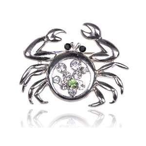 Crystal Rhinestone Funny Cute Alaskan Pincer Crab Pin Brooch Jewelry