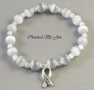 New BRAIN CANCER Awareness Cats Eye Stretch Bracelet w/ HOPE Ribbon