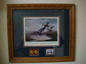 Original Signed Print 1985 1986 Final Flight Framed Duck Hunting Art