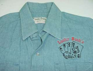 VINTAGE RANCH & TOWN Lucky Bucks ROCKABILLY WESTERN Snap Up SHIRT Sz
