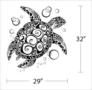 BIG SEA TURTLE   Vinyl Wall Art Decals Stickers Large