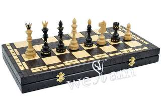 Large Hand Carved Wooden Chess Wood Set