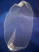 Birdcage Veil Visor Bridal White Ivory Crystals Pearls