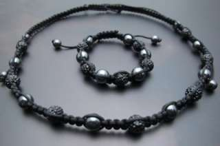 BLACK CRYSTAL 10MM PAVE DISCO BALL BEAD SHAMBALLA BRACELET & NECKLACE
