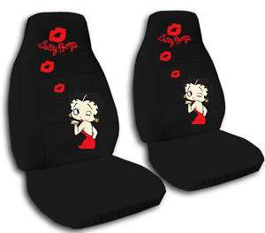 NICE SET OF BETTY BOOP CAR SEAT COVERS BLACK W/RED LIPS