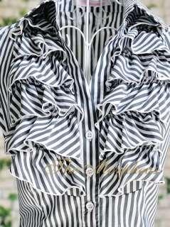 Black Stripe Designer Lady Ruffle Collar Sleeve Shirts