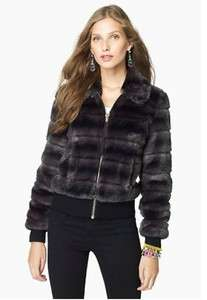 JUICY COUTURE SOFT SHORT FAUX FUR CHIC BOMBER JACKET BLACK SWAN