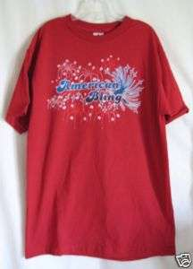 SIZE M HOT RED PATRIOTIC AMERICAN BLING TEE SHIRT NWT