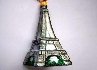 SM EIFFEL TOWER BLOWN GLASS CHRISTMAS ORNAMENT FRANCE