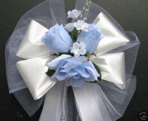 LIGHT BLUE / WHITE satin wedding pew bows decorations