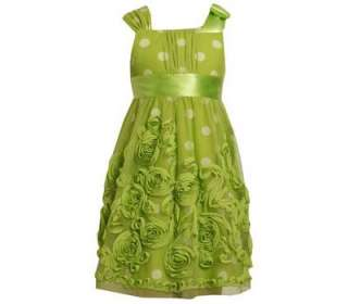 Bonnie Jean Girls Lime Green Mesh Bonaz Wedding Easter Spring Dress 8