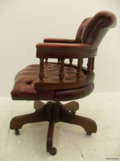 Lovely Large Antique Mahogany Red Captains Office / Desk Chair