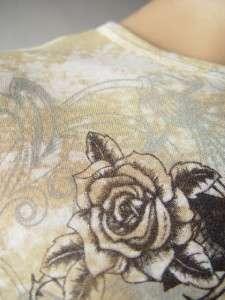 BURNOUT Embellished Rose Wing Winged Gun Tattoo Print Long Slv Tee Top