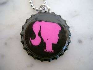 VINTAGE BARBIE DOLL SILHOUETTE BOTTLE CAP NECKLACE