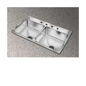 PSR33220 33 Top Mount Double Bowl 20 Gauge Stainless Steel Sink With