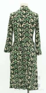Furstenberg Green, Black & Tan Swirled Silk Wrap Dress Size 8