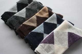 Warm For Winter Wool Rabbit Sock Boy Men Sock Rhombus Design