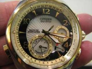 Citizen Eco Drive Minute Repeater Rare Two Tone Gold Mens Watch