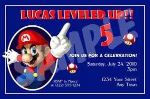 12 Super Mario Brothers Custom Birthday Invitations