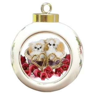 Valentines Day Basket Dog Christmas Holiday Ornament