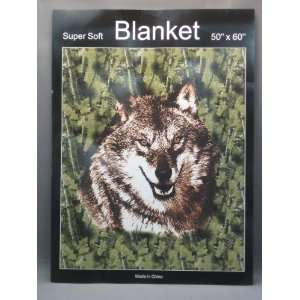 Super Soft Wolf Blanket In Green Leaves 50 x 60