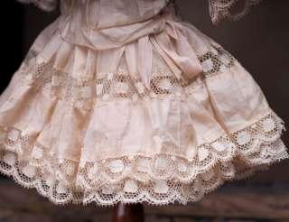 Peach Silk & Lace Dress for Jumeau Bru Steiner Bebe doll 17 18