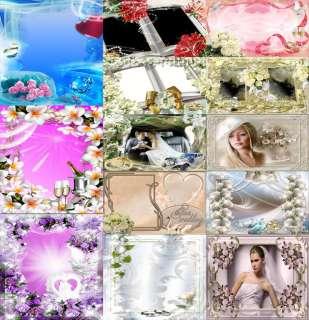 20Gb Wedding Photoshop Frames Templates PSD album marriage gift