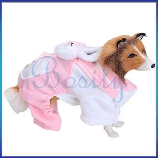 Lovely Pet Dog Pink Rabbit Coat Warm Jumpsuit Shirt Coat Holiday