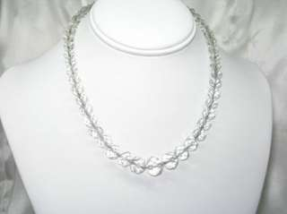 VINTAGE CHAIN STRUNG FACETED CLEAR CRYSTAL BEAD NECKLACE