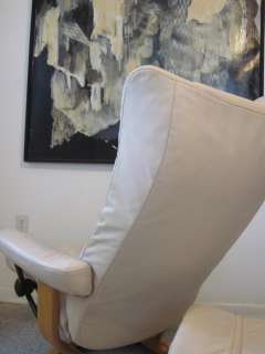 Ekornes Stressless Recliner Chair Ottoman Danish Modern Leather Wing
