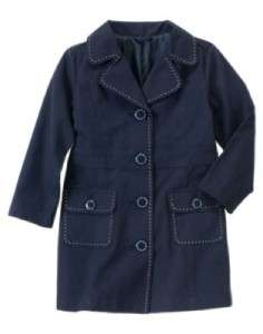 NWT Gymboree Uniform Shop Navy Blue Trench Coat 7 8