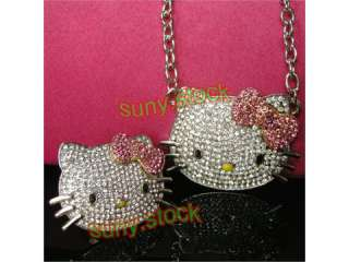 High quality NEW pink hello kitty ring and necklace C18