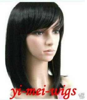 New Fashion Medium Black Straight Womens Ladys Synthetic Hair Full
