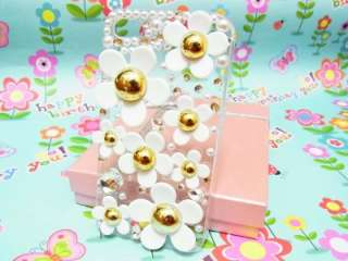 Bling Crystal Little Daisy White Flower Clear Case Cover for iPhone 4