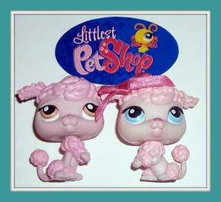 LPS PINK FRENCH POODLE PUPPY DOG LOT~#48 & #403~Littlest Pet Shop