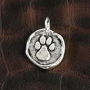 Silver Wax Seal Charm Pendant Dog Cat Paw Print