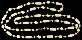 VTG ART DECO WIRED MILK GLASS LARIAT BEAD NECKLACE 54