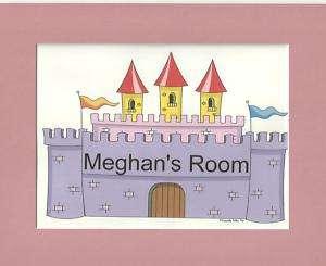 PERSONALIZED CARTOON Princess Castle room sign cat dog