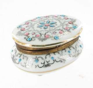 ANTIQUE FRENCH PORCELAIN VANITY TRINKET JEWELRY BOX CASKET NECCESSAIRE