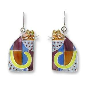 Cubist Cat Sterling Silver & Enamel Earrings Jewelry