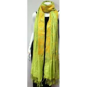 , High Quality Hand Woven Fabric, Lime Green Yellow Unique Designer