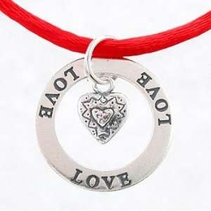 LOVE Affirmation Band Pendant in Sterling Silver with Heart Charm