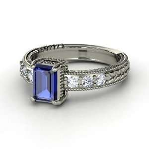 Ring, Emerald Cut Sapphire 18K White Gold Ring with Diamond Jewelry