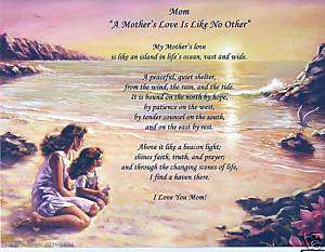Mother Love Poem Personalized Name Prayer Beach Print