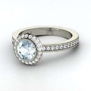 Roxanne Ring, Round Aquamarine Sterling Silver Ring with