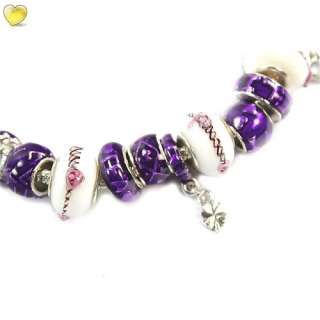 Charming Bracelet Chain Silver With Purple Beads bangle